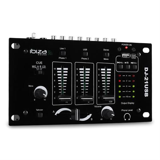 Ibiza DJ-21, mixer 3/2 canale, USB, talkover, party
