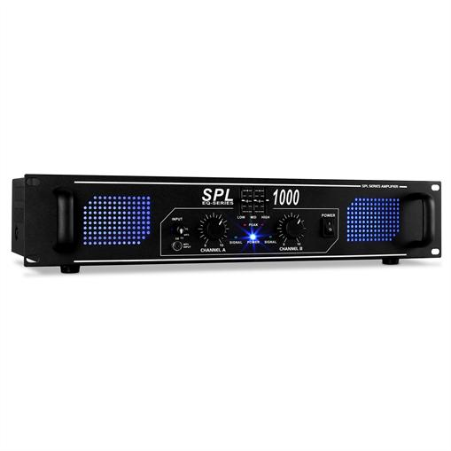 Skytec SPL1000 Ampli DJ PA Audio LED 2800W EQ Rack 48cm 2U