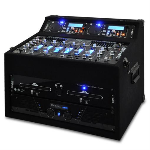 Sistema Audio PA Reproductor de CD MP3 USB SD Mezcladora Amplificador Rack