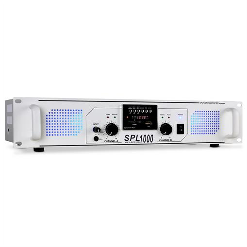 Skytec SPL-1000 PA amplificator USB SD MP3 2800W alb