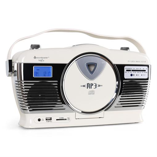 Soundmaster RCD1300 Boombox USB SD MP3 CD radio réveil beige