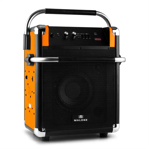 Malone Rock Fortress Chaîne PA USB Bluetooth radio FM AUX 50W max. orange
