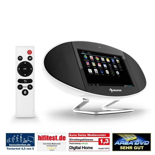 Auna Swizz, 18 cm (7'') érintőképernyő, Android, WiFi, HDMI, bluetooth, AirPlay, DLNA