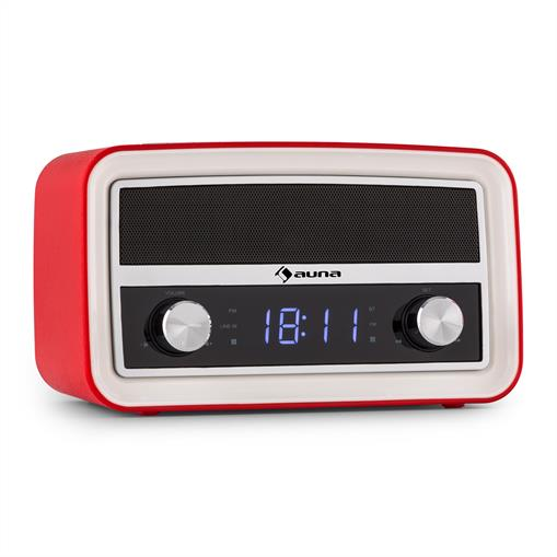 auna Caprice RD Retro-Radio Wecker Bluetooth UKW USB AUX rot RM6-Caprice RD