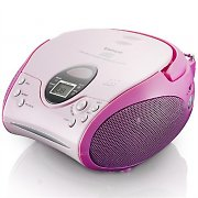 Lenco SCD-24 Boombox Radio FM CD-Player rosa