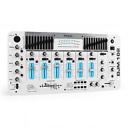 IBIZA DJM-102 Mixer 4 canali LED Eco Effetto Battle bianco