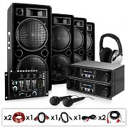 "DJ PA Set ""Bass First"" 2x 500W Verstärker 4x Boxen Mixer"