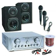 Hifi/pa/dj karaoke set 200W casse amplificatore 2 micro