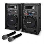 Karaoke-Anlage &quot;STAR-12&quot; PA Boxen Funk Mikrofon 1200W