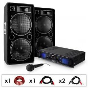 DJ PA SET &quot;DJ-27&quot;- Verstrker PA Boxen 2000W USB SD MP3