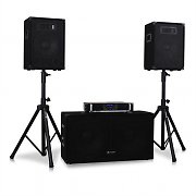"Set DJ PA 2.1 ""Volume 1"" 1x Amplificatore 1x Subwoofer 2x Satelliti 2x Stativi"