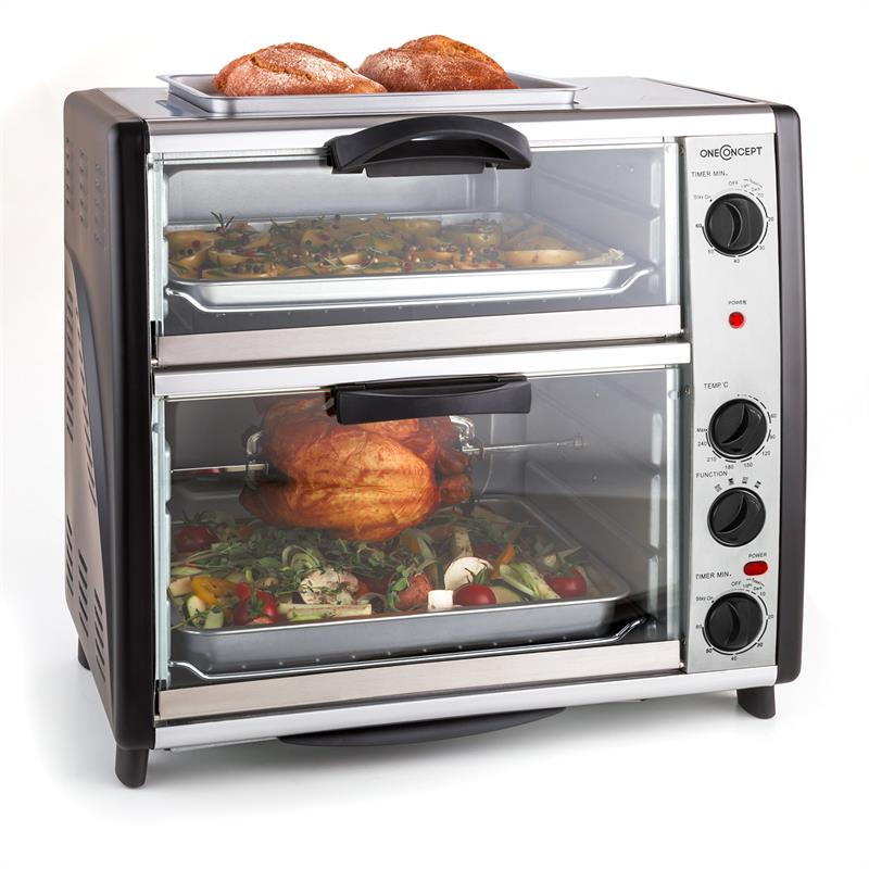oneConcept All You Can Eat Doppel Backofen mit Grillplatte 42 Liter 2400 Watt