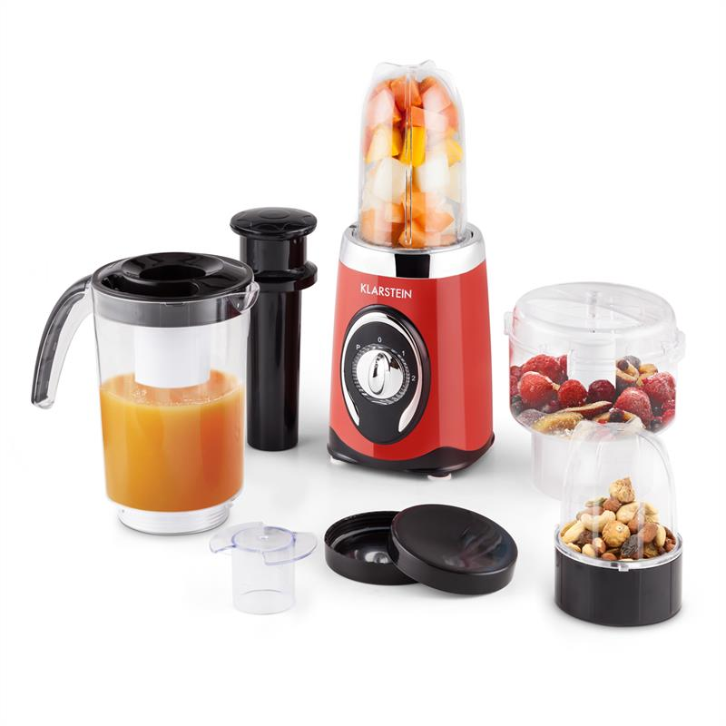 Klarstein Fruizooka Mixer Smoothiemaker 4 in 1 Multifunktionsgerät 220W rot