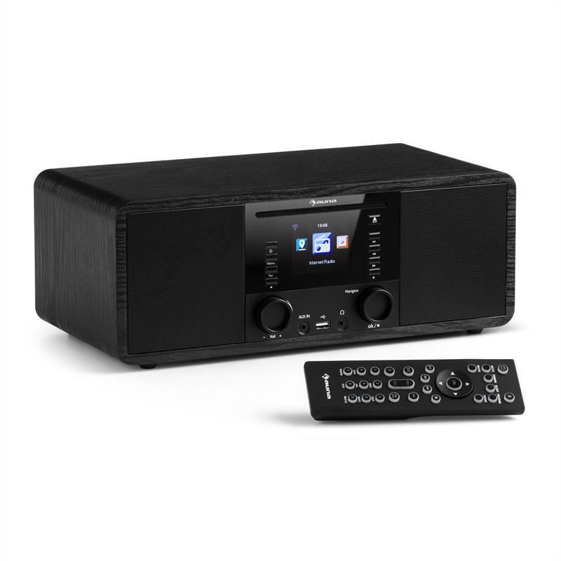auna IR-190 Radio de internet Reproductor de CD WiFi UPnP USB Mando a distancia Color negro