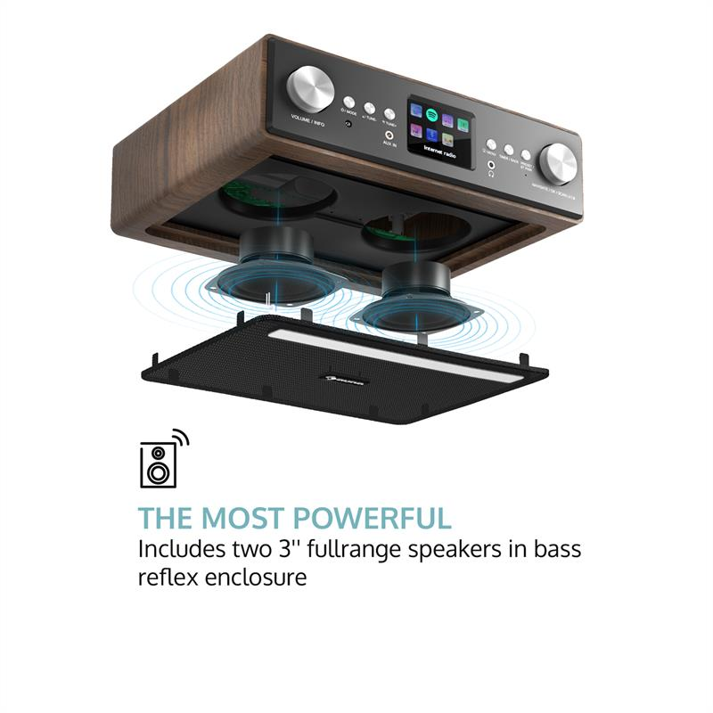 auna Connect Soundchef radio de cocina con soporte para tableta DAB+ FM 2 x 3 - altavoces nogal