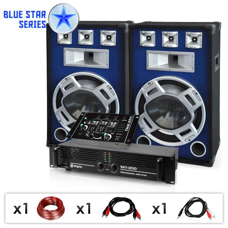 Skytec Bassmix Blue Star Series DJ PA-Set 1200 Watt