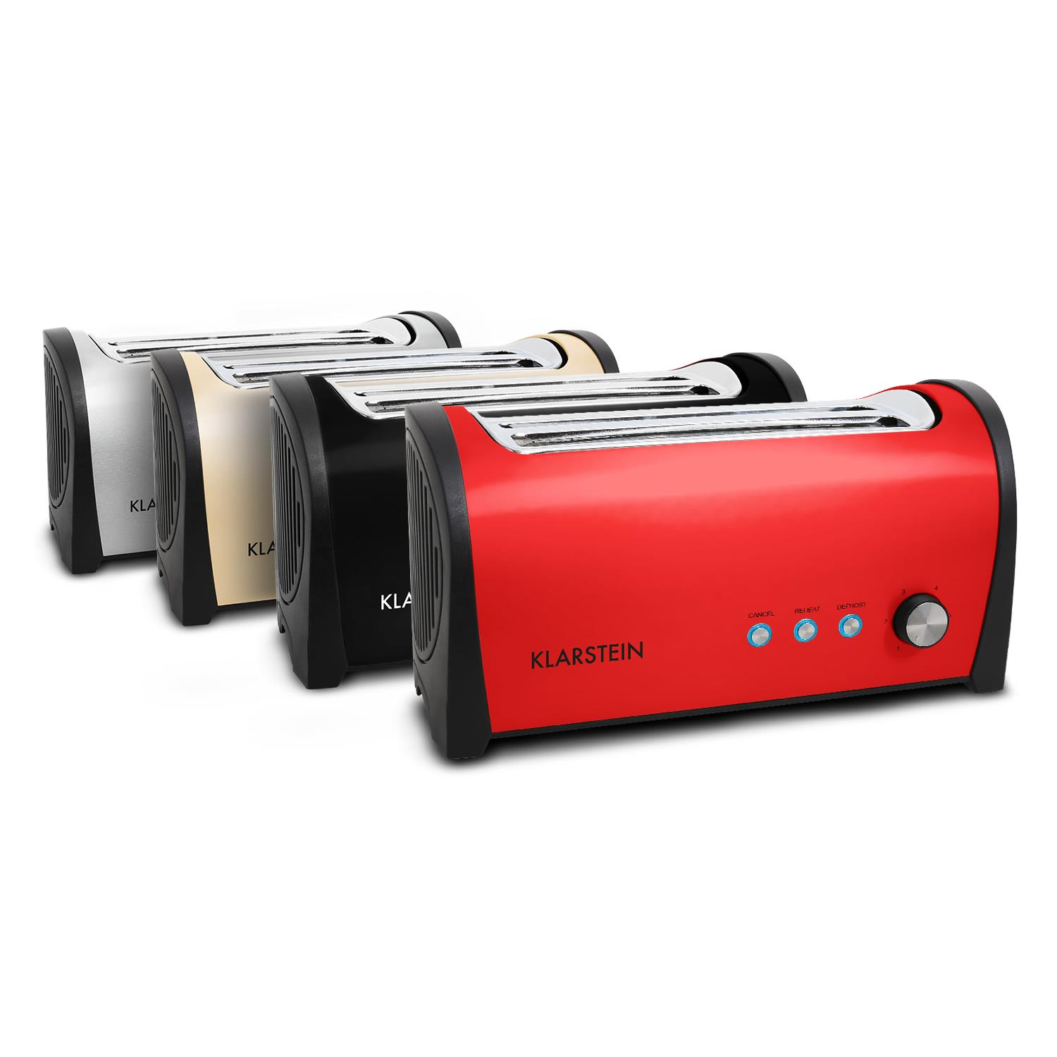 OCCASION-GRILLE-PAIN-4-TRANCHES-KLARSTEIN-TOASTER-LARGE-FENTE-ROUGE-1400W